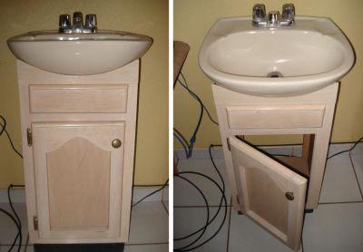Instantips lavamanos con mueble de madera con puerta for Muebles para lavamanos